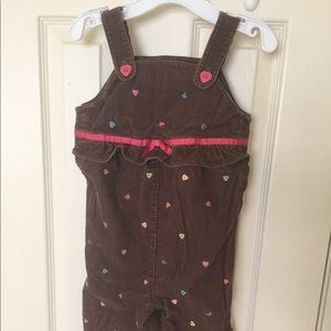 Gymboree 2t brown embroidered overalls